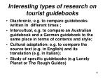 interesting types of research on tourist guidebooks