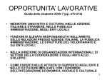 opportunita lavorative guida dello studente 2006 7 pp 270 272