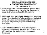 specialized discourse a diachronic perspective in linguistics