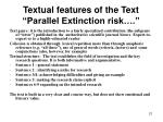 textual features of the text parallel extinction risk
