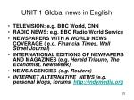 unit 1 global news in english
