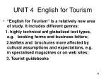 unit 4 english for tourism