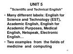 unit 5 scientific and technical english