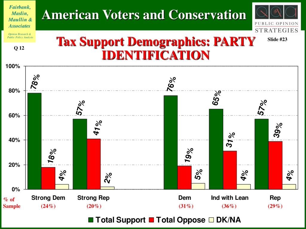 Tax Support Demographics: PARTY IDENTIFICATION