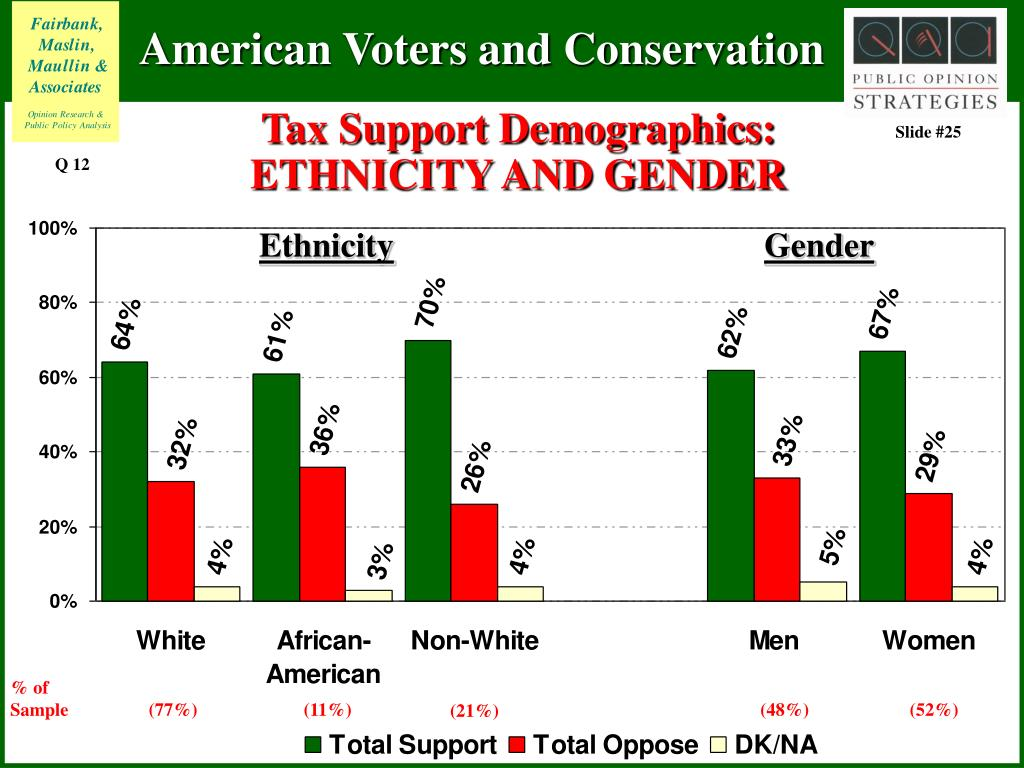Tax Support Demographics: ETHNICITY AND GENDER