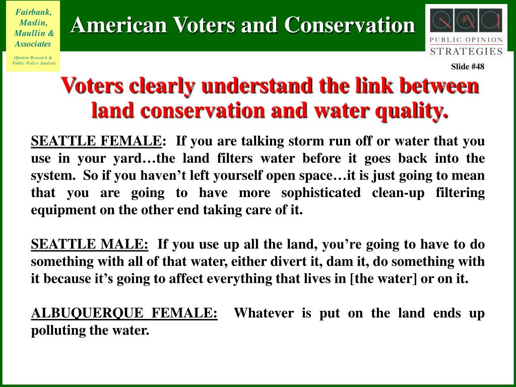 Voters clearly understand the link between land conservation and water quality.