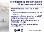 rnp roadmap implementation principles concluded