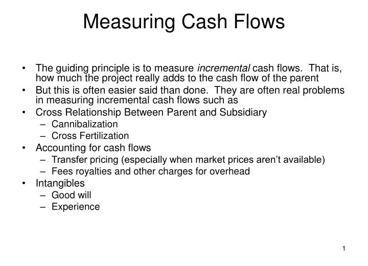 Measuring cash flows