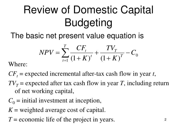 Review of domestic capital budgeting3