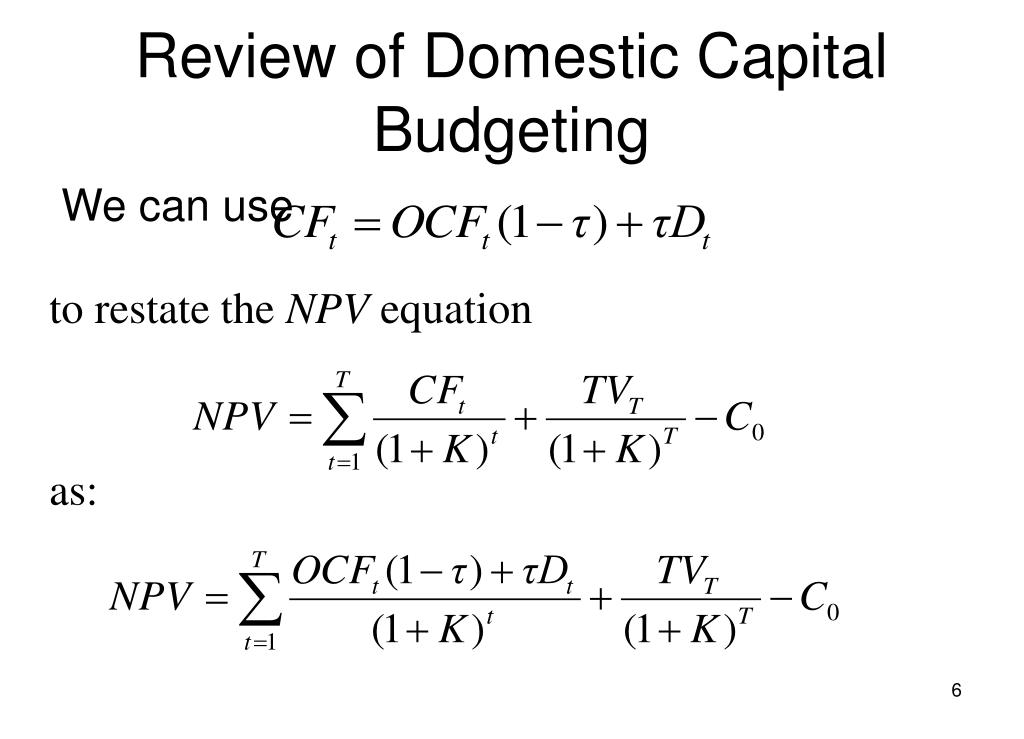 Review of Domestic Capital Budgeting