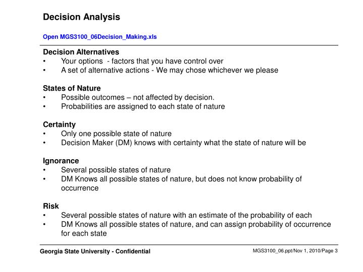 Decision analysis open mgs3100 06decision making xls