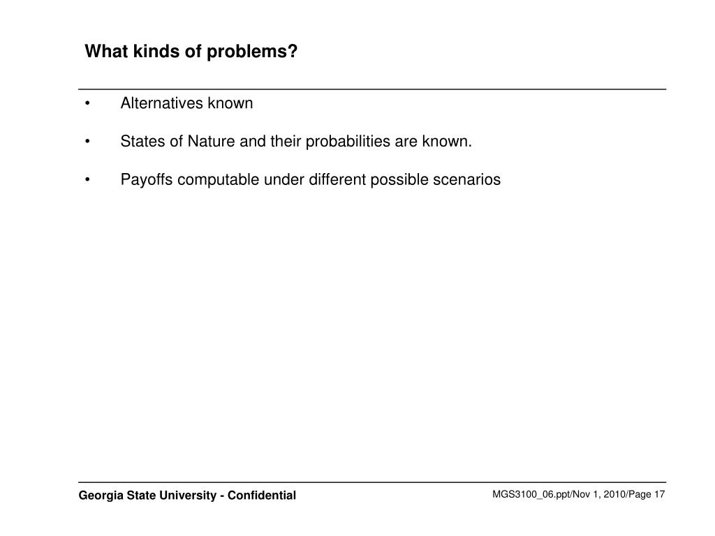 What kinds of problems?