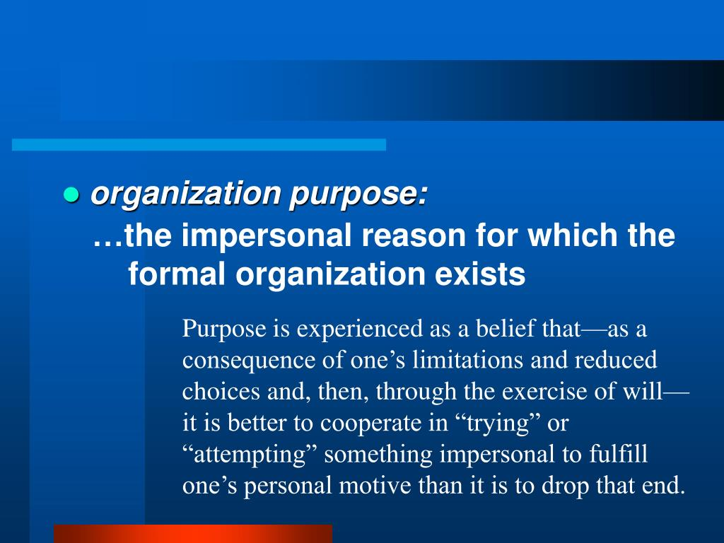 organization purpose: