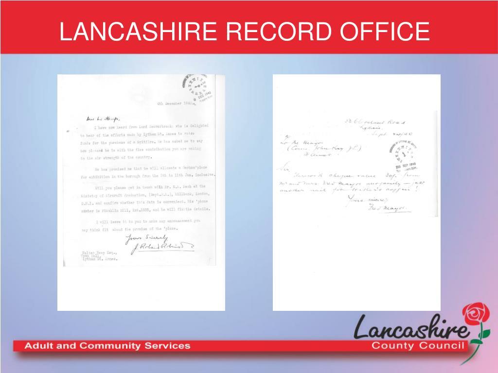 LANCASHIRE RECORD OFFICE