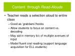 content through read alouds