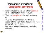 paragraph structure concluding sentences