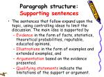 paragraph structure supporting sentences