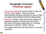 paragraph structure transition signals
