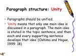 paragraph structure unity