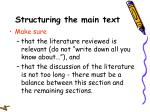 structuring the main text21