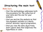 structuring the main text23