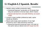 l1 english l2 spanish results