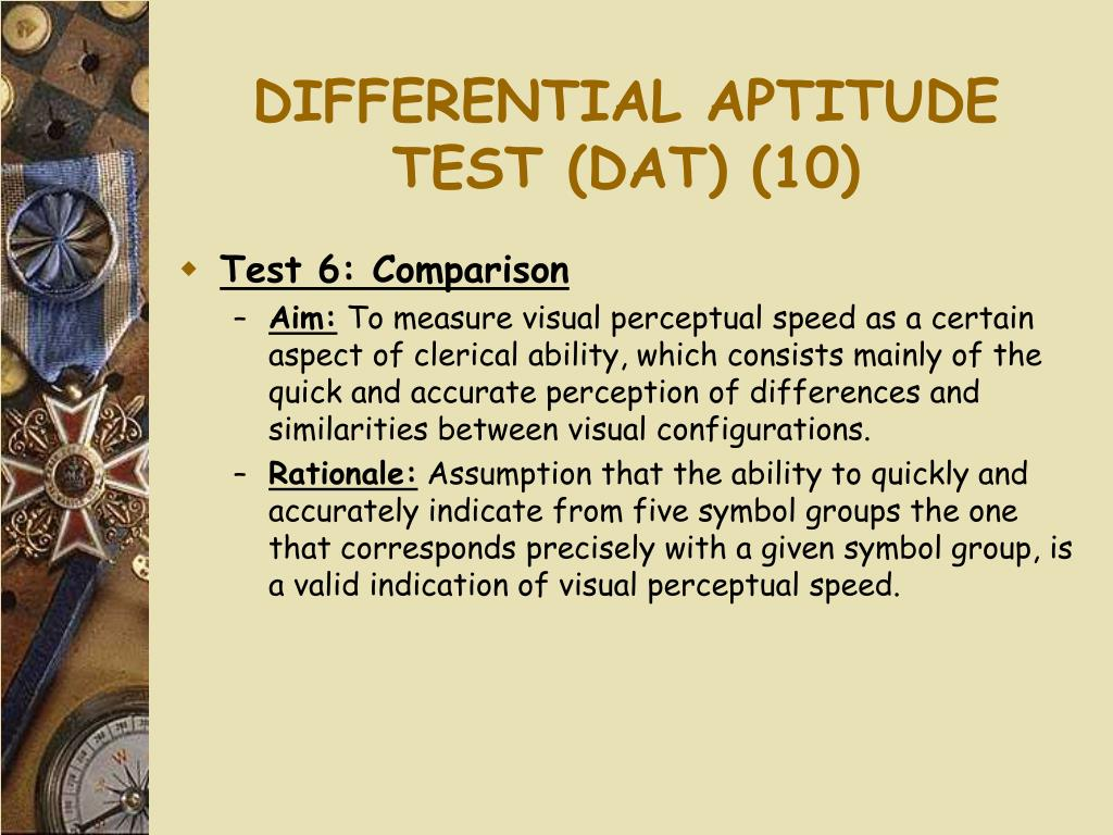DIFFERENTIAL APTITUDE TEST (DAT) (10)