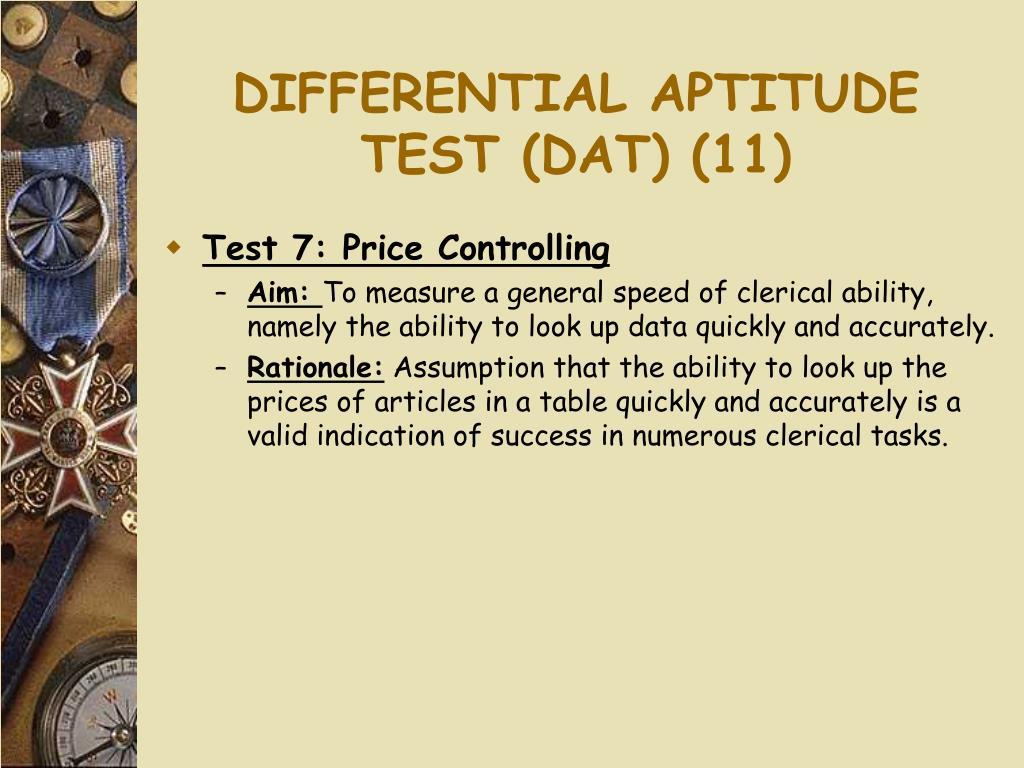 DIFFERENTIAL APTITUDE TEST (DAT) (11)