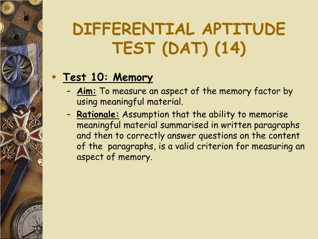 DIFFERENTIAL APTITUDE TEST (DAT) (14)