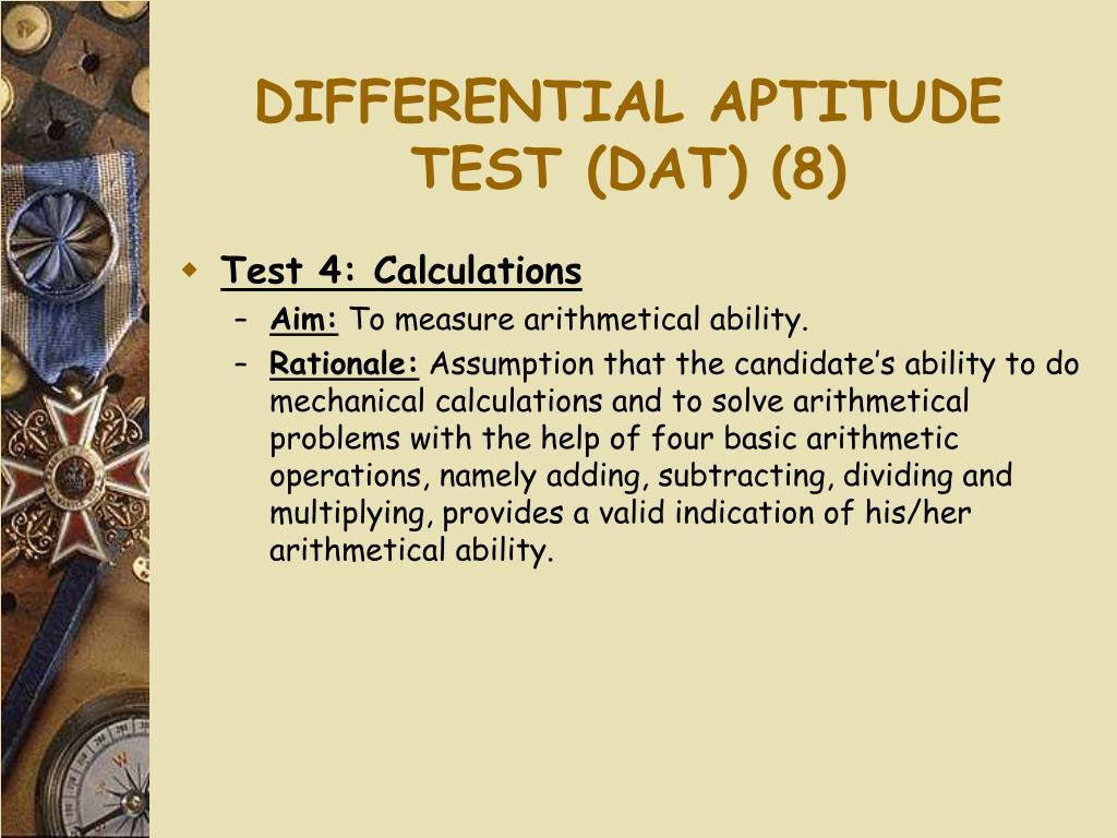 DIFFERENTIAL APTITUDE TEST (DAT) (8)