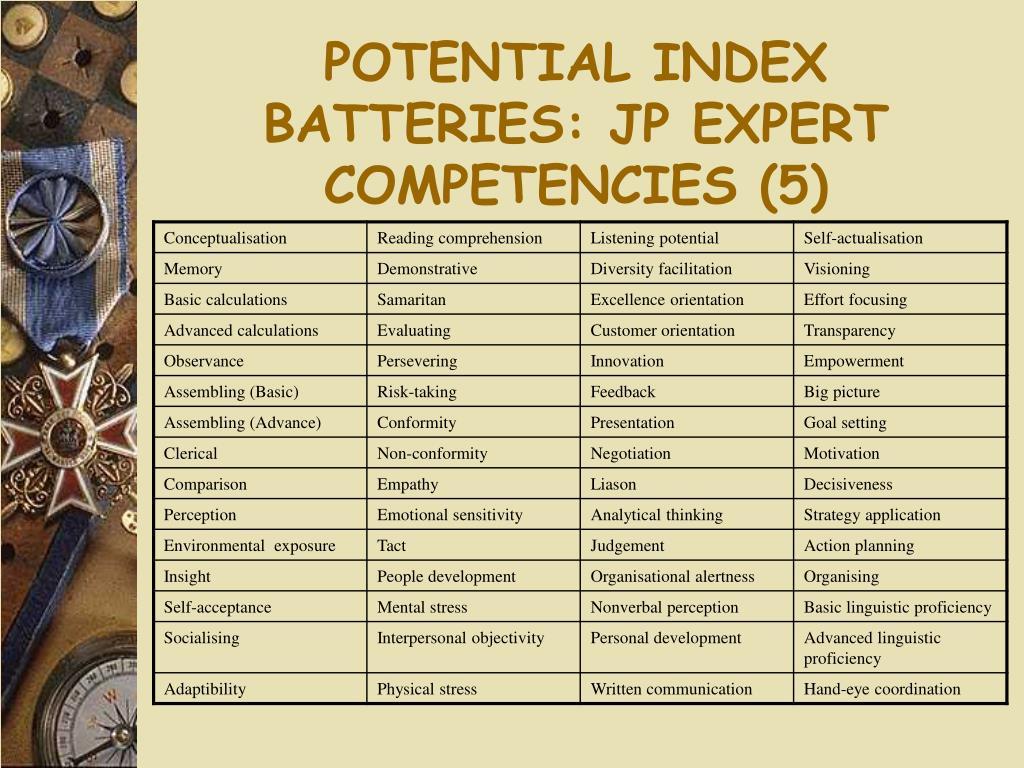 POTENTIAL INDEX BATTERIES: JP EXPERT COMPETENCIES (5)