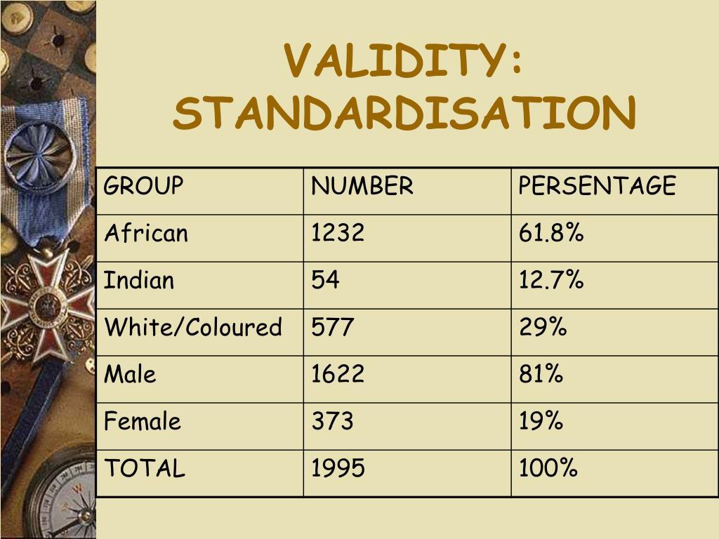VALIDITY: STANDARDISATION
