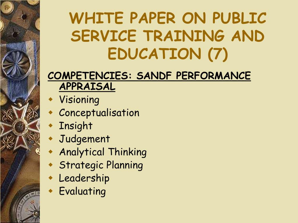 WHITE PAPER ON PUBLIC SERVICE TRAINING AND EDUCATION (7)