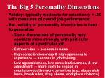 the big 5 personality dimensions