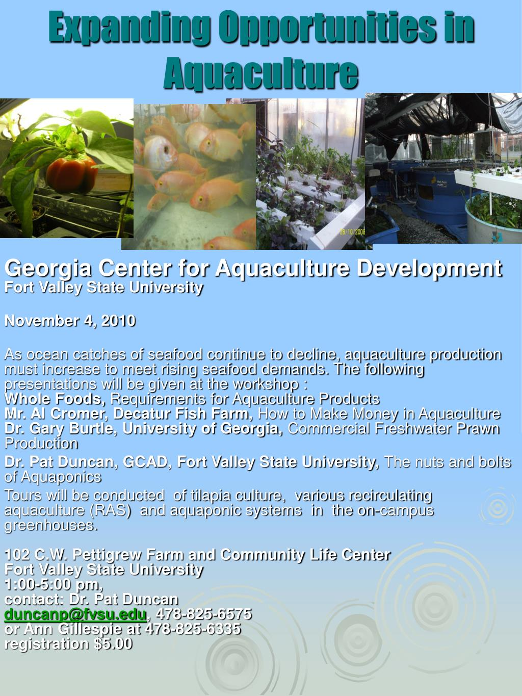 expanding opportunities in aquaculture l.