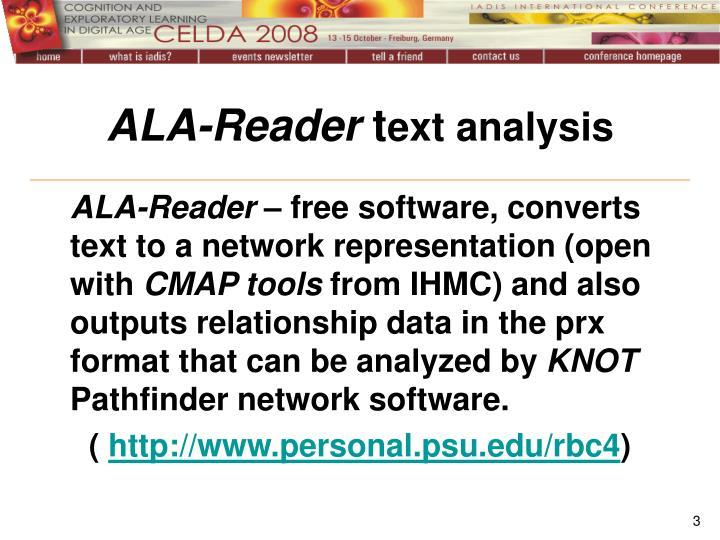 Ala reader t ext analysis