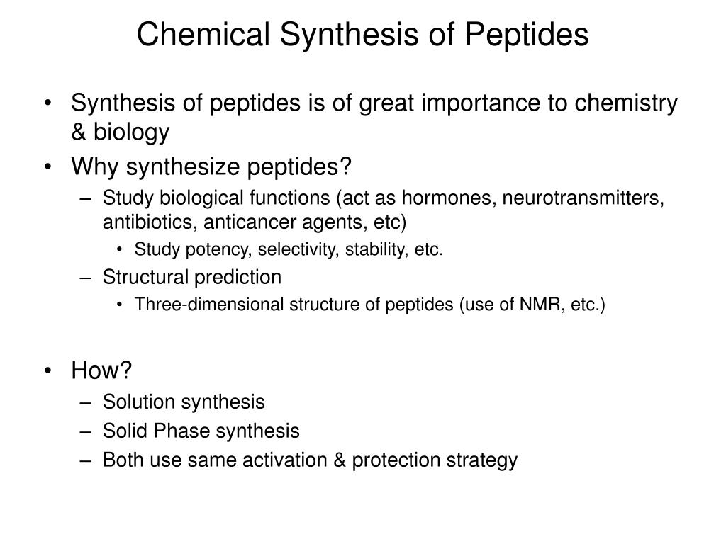 Chemical Synthesis of Peptides