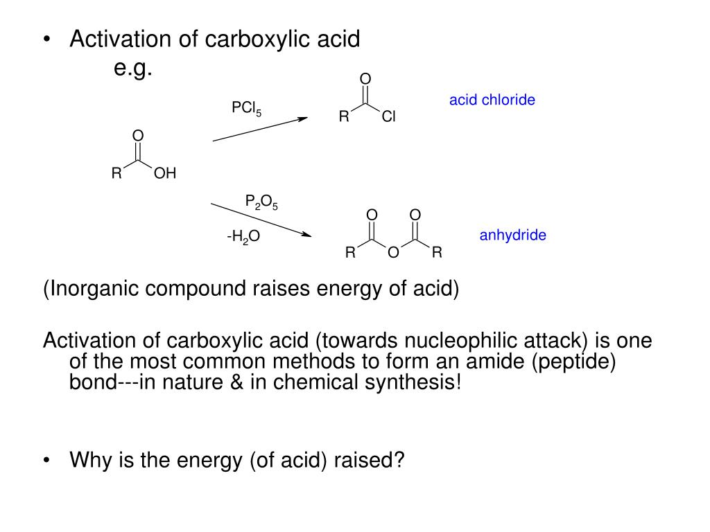 Activation of carboxylic acid