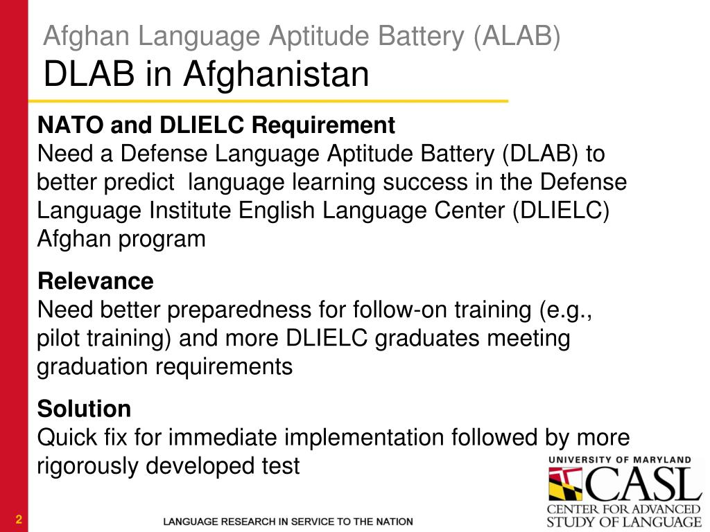 PPT - Afghan Language Aptitude Battery (ALAB) PowerPoint