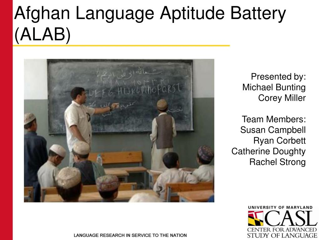 afghan language aptitude battery alab l.