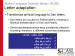 afghan language aptitude battery alab letter adaptation