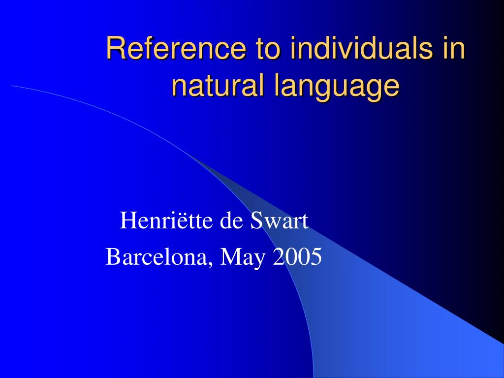 reference to individuals in natural language l.