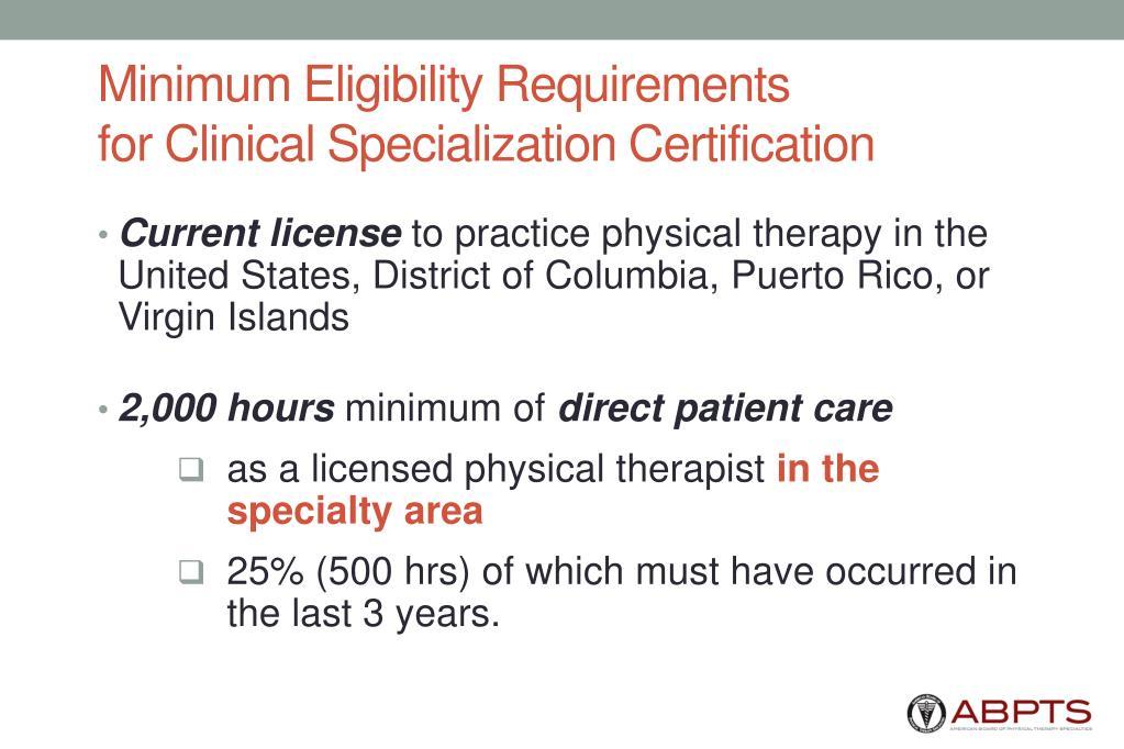 Minimum Eligibility Requirements