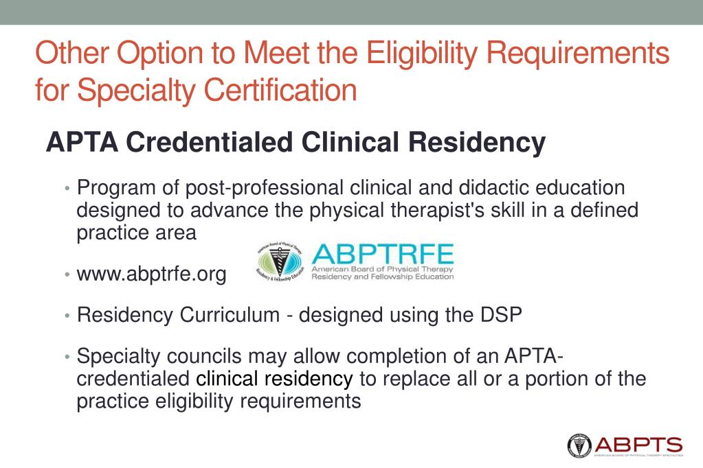 Other Option to Meet the Eligibility Requirements for Specialty Certification