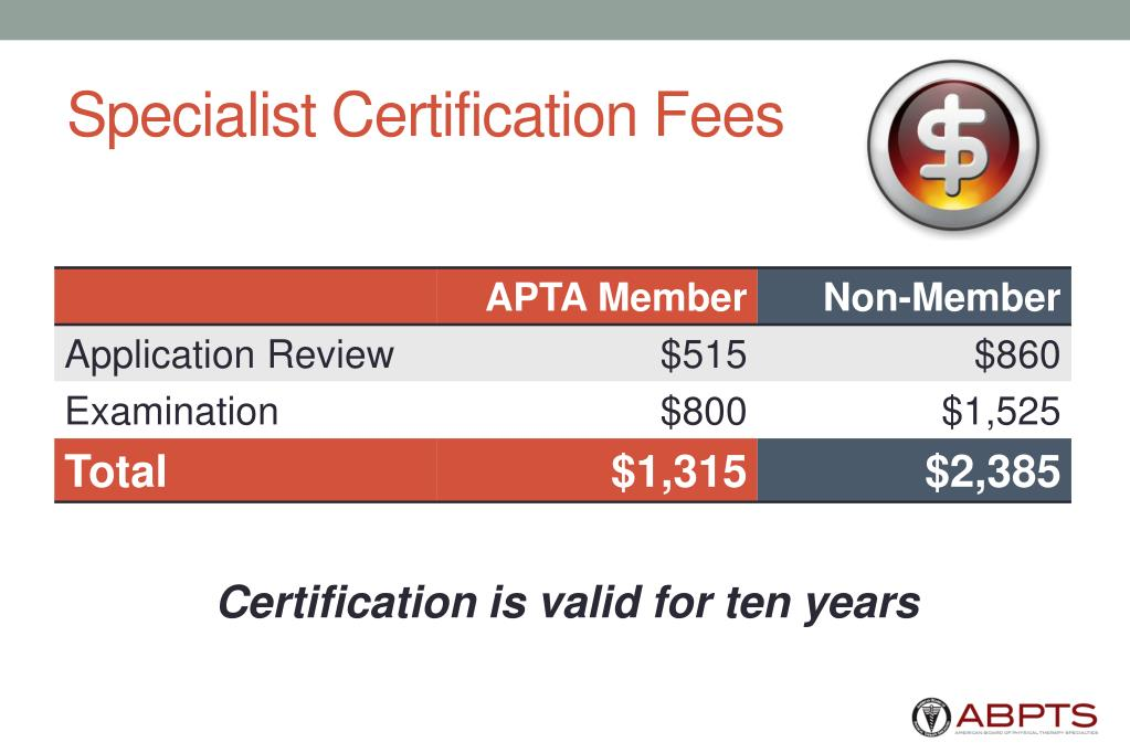 Specialist Certification Fees