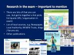 research in the exam important to mention