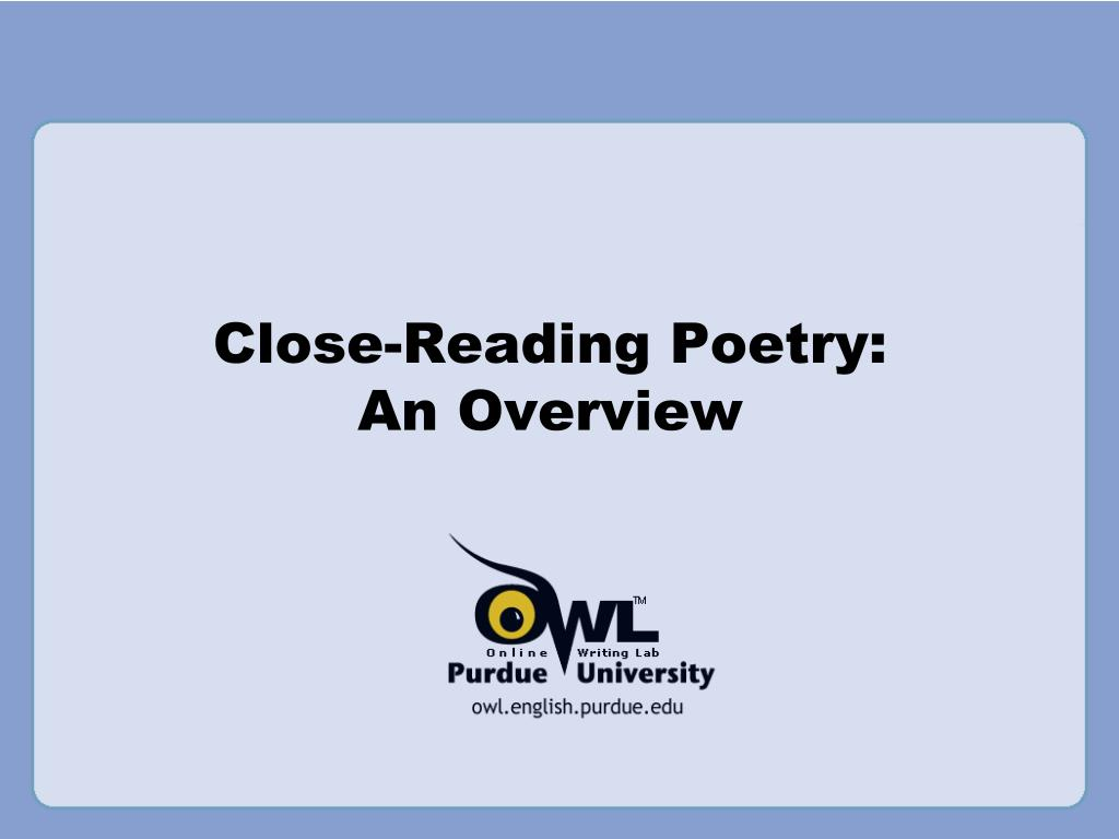 close reading poetry an overview l.