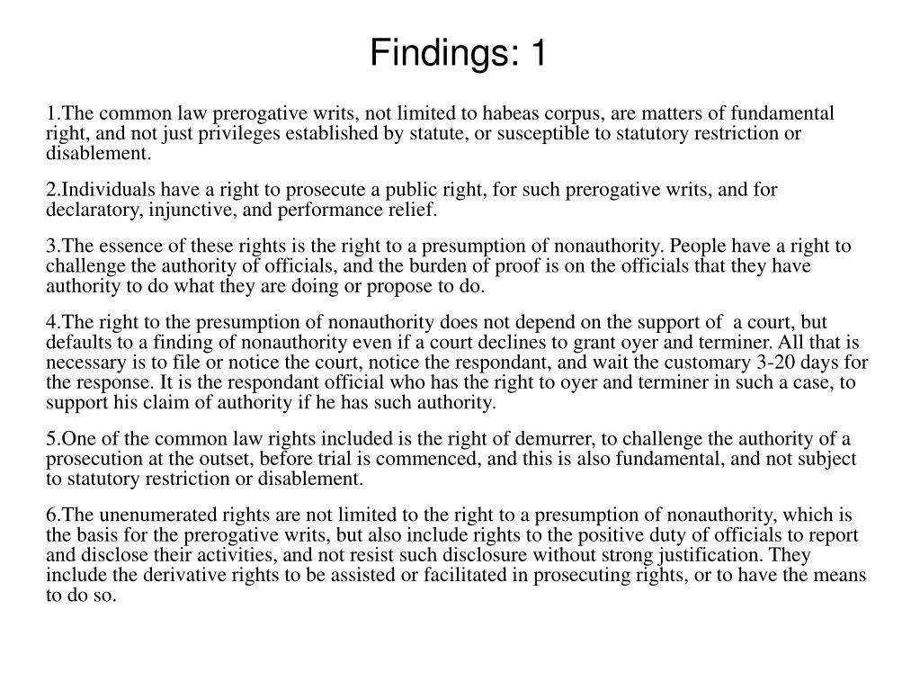 Findings: 1