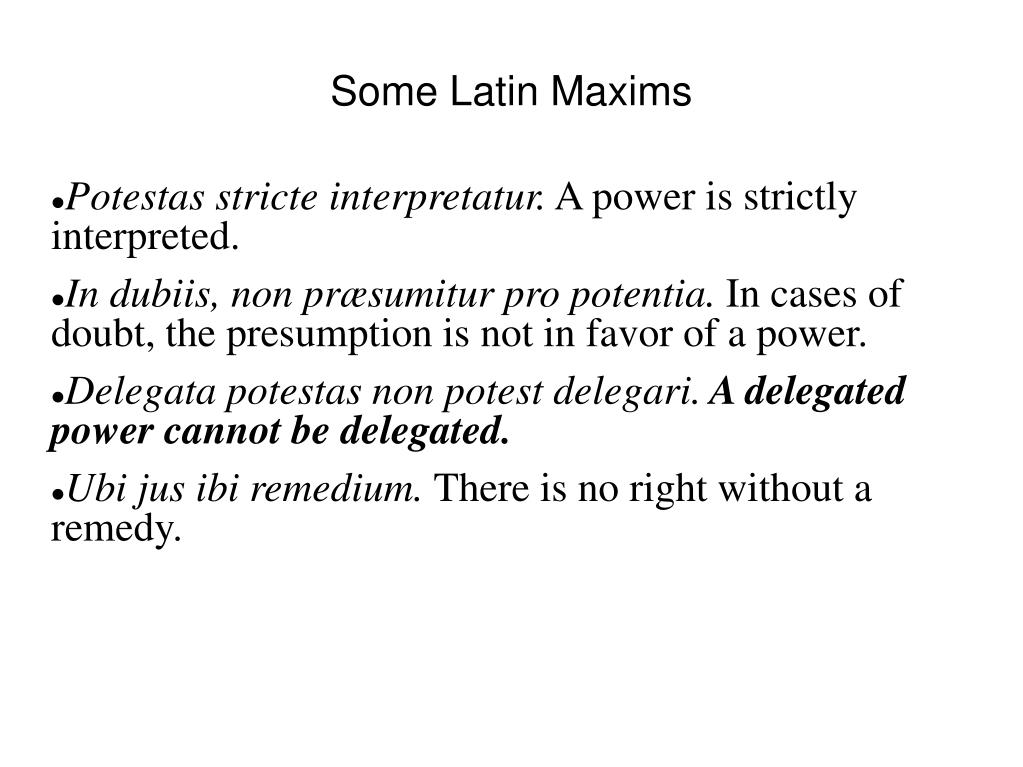 Some Latin Maxims
