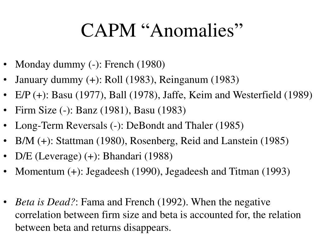 "CAPM ""Anomalies"""